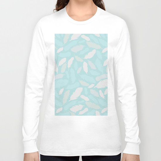 Feather Pattern Mint Long Sleeve T-shirt