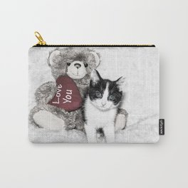 Valentines kitten and teddy Carry-All Pouch