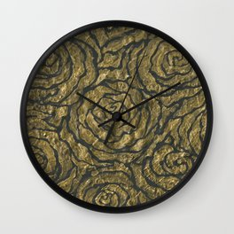 Intense Rose Print on Textured Canvas Wall Clock