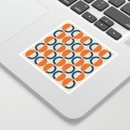 Mid Century Modern Half Circle Pattern 534 Beige Blue and Orange Sticker