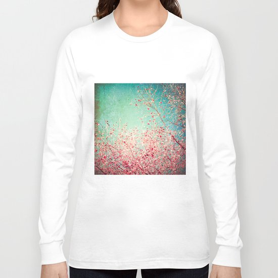 Blue Autumn, Pink leafs on blue, turquoise, green, aqua sky Long Sleeve T-shirt