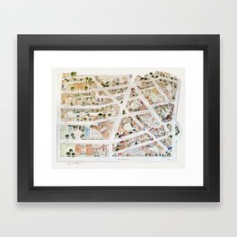 Greenwich Village Map by Harlem Sketches Framed Art Print