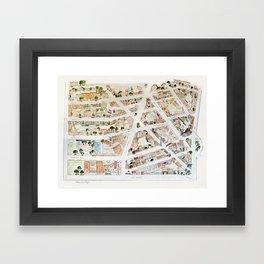 Greenwich Village Map by Harlem Sketches Framed Art Print