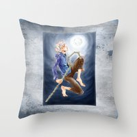 jack frost Throw Pillows featuring Jack Frost by SpaceMonolith