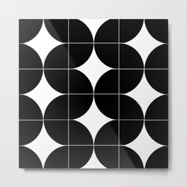 Modular Black and White Repeated Pattern Design Metal Print