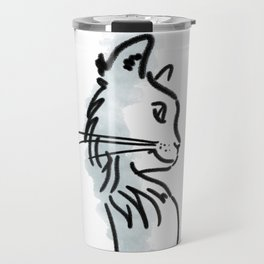 CAT SILHOUETTE WITH WATER COLOUR Travel Mug