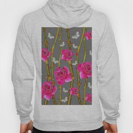 WHITE BUTTERFLIES & PINK ROSE THORN CANES  GREY ART Hoody