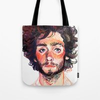 tom selleck Tote Bags featuring Tom by Maddy