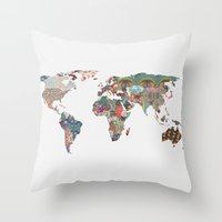 map of the world Throw Pillows featuring Louis Armstrong Told Us So by Bianca Green