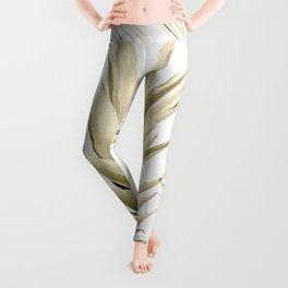 Gold Tropical Palm Pineapple Leggings