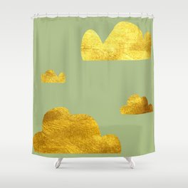 Gold Clouds green Shower Curtain