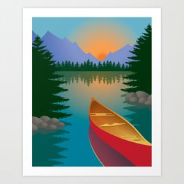 Canoe in a Mountain Lake Pine Tree Forest Art Print