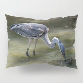 Great Blue Heron Catching Huge Frog - I Pillow Sham