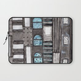 Gray Facade with Lighted Windows Laptop Sleeve