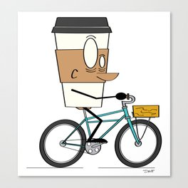 Coffee Cup Biking Canvas Print