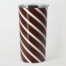 Cocoa Diagonal Stripes Travel Mug