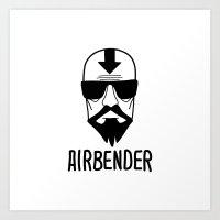 airbender Art Prints featuring AIRBENDER by Aldo Cervantes Saldaña