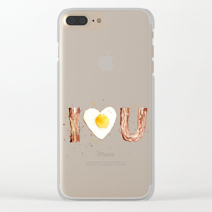 Bacon and Egg I love You Breakfast Food I heart Clear iPhone Case