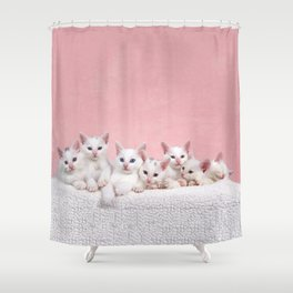 Bedtime for Seven Fluffy White Kittens Shower Curtain