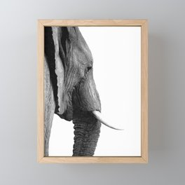 Black and white elephant portrait Framed Mini Art Print