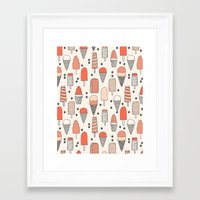 ice Framed Art Prints featuring Ice Cream Season by Andrea Lauren Design