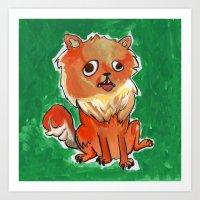 pomeranian Art Prints featuring Pomeranian by Elizabeth Ranson