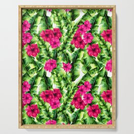 green banana palm leaves and pink flowers Serving Tray