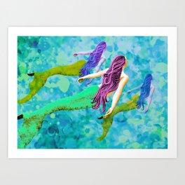 swimming deep with my pod Art Print