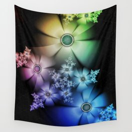 Pastel Silk Rainbow Flowers Wall Tapestry