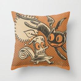 Bat Cat and Candle Throw Pillow