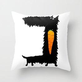 Carrot Crunching Scottie Dog Throw Pillow