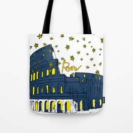Rome Italy Colosseum Starry night Tote Bag
