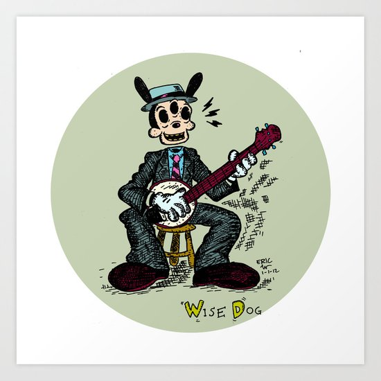 Wise Dog and his Banjo Art Print
