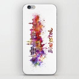Bialystok skyline watercolor splatters iPhone Skin