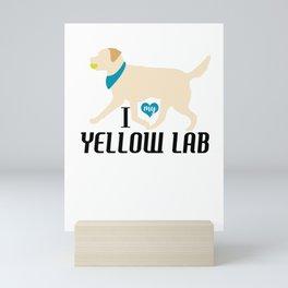 Yellow Labs with red bandana on blue Mini Art Print