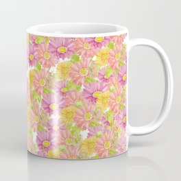 Pink coral yellow watercolor hand painted floral Coffee Mug