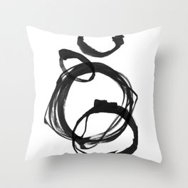 Black Ink Geometric Abstract Painting Rings 3 Throw Pillow