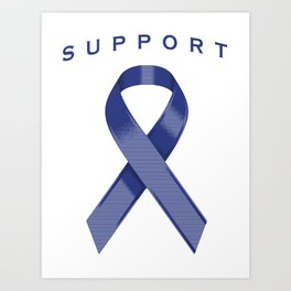 Blue Awareness Ribbon Art Print