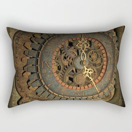 Steampunk, awesome clock, rusty metal Rectangular Pillow