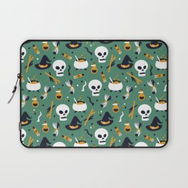 Happy halloween skulls, pots, brooms and witch hats pattern Laptop Sleeve