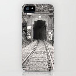 Bellingham Railroad Tunnel, Washington Trains, Northwest Landscape, Sepia Print iPhone Case