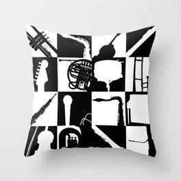 Pop Music Art B&W Throw Pillow