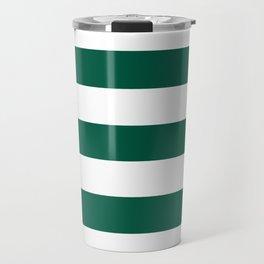 Castleton green - solid color - white stripes pattern Travel Mug