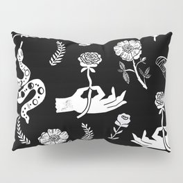 Linocut snakes hand rose floral black and white spooky gothic pattern Pillow Sham