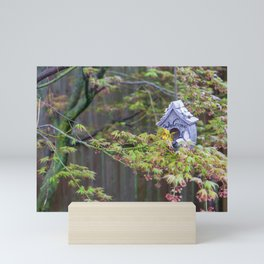 Birdhouses Nestled in a Blooming Japanese Maple Mini Art Print
