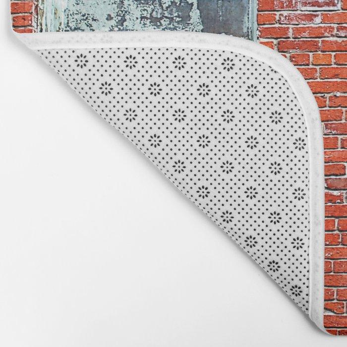 Old Windows Bricks Bath Mat
