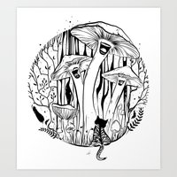 The Singing Mushrooms & The Zebra Cat Art Print