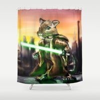 jedi Shower Curtains featuring Gerbil Jedi by Wesley S Abney