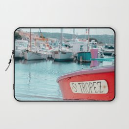 Nautical Travel Print | Blue, Teal, Turquoise Clear Sea, Ocean | Boats, Harbor, Seascape Europe Laptop Sleeve