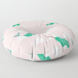 Sea unicorn - Narwhal green and pink Floor Pillow